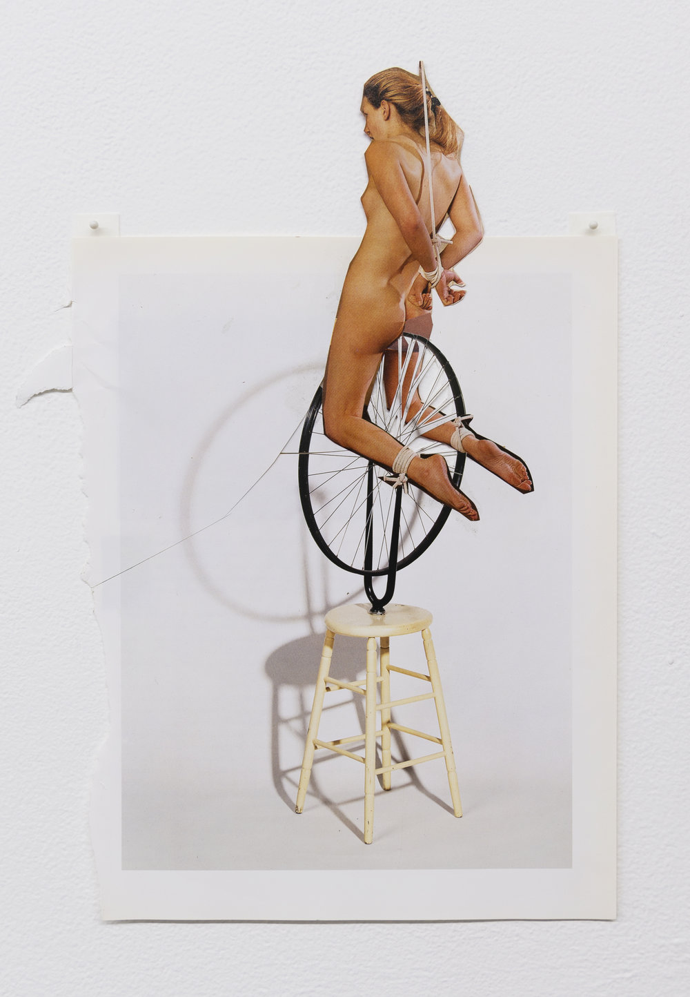 Narcissister,  Studies for Participatory Sculptures, Untitled (Bound to bicycle wheel, after Marcel Duchamp) , 2018, Paper, rubber cement, 14.75 x 10.5 in