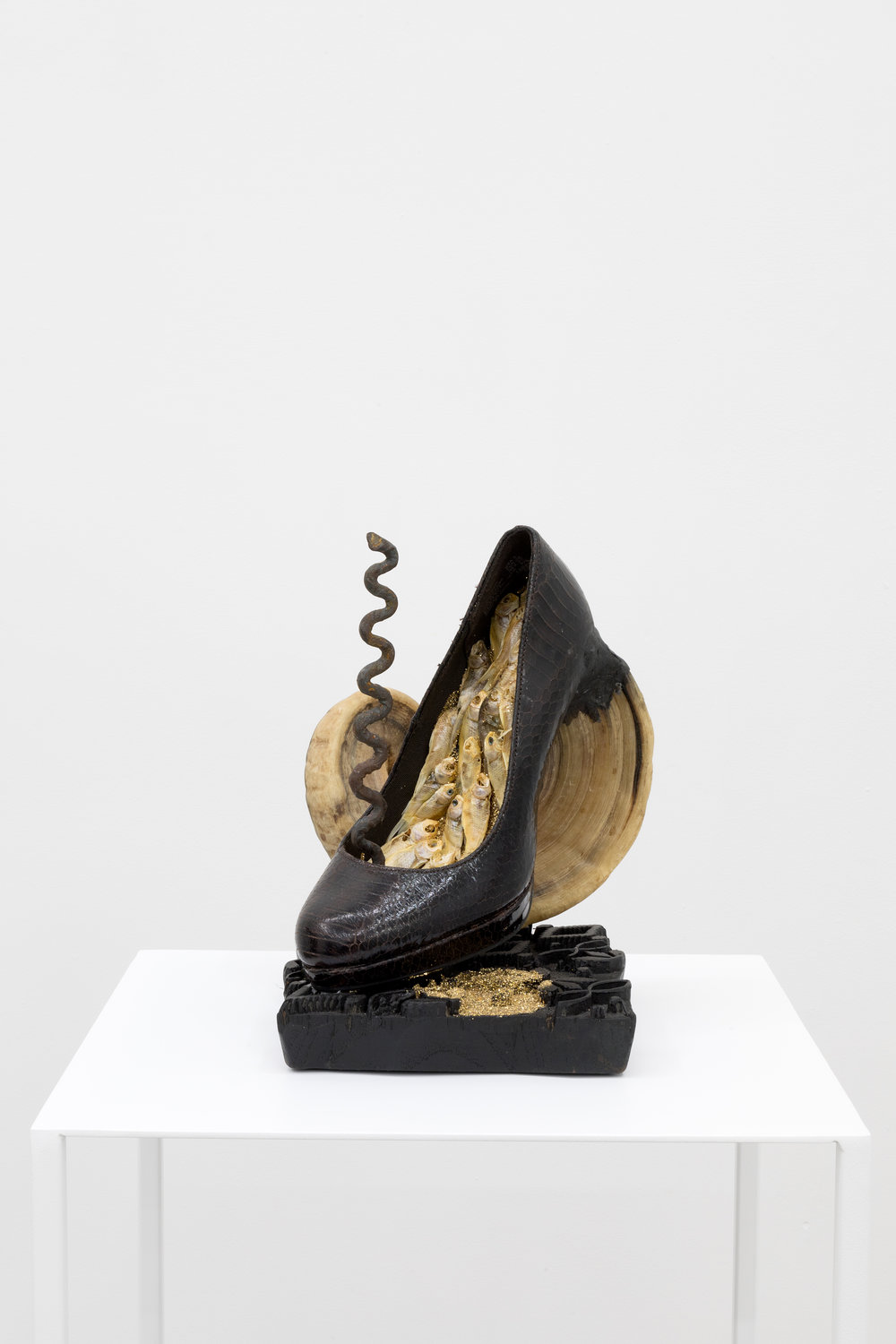 Genesis BREYER P-ORRIDGE,  Shoe Horn #9 , 2016, Dominatrix shoe, ram horn, vodun iron python, dried feeder fish, glitter, Nepalese printing block, 9.5 x 9.6 x 6.5 in