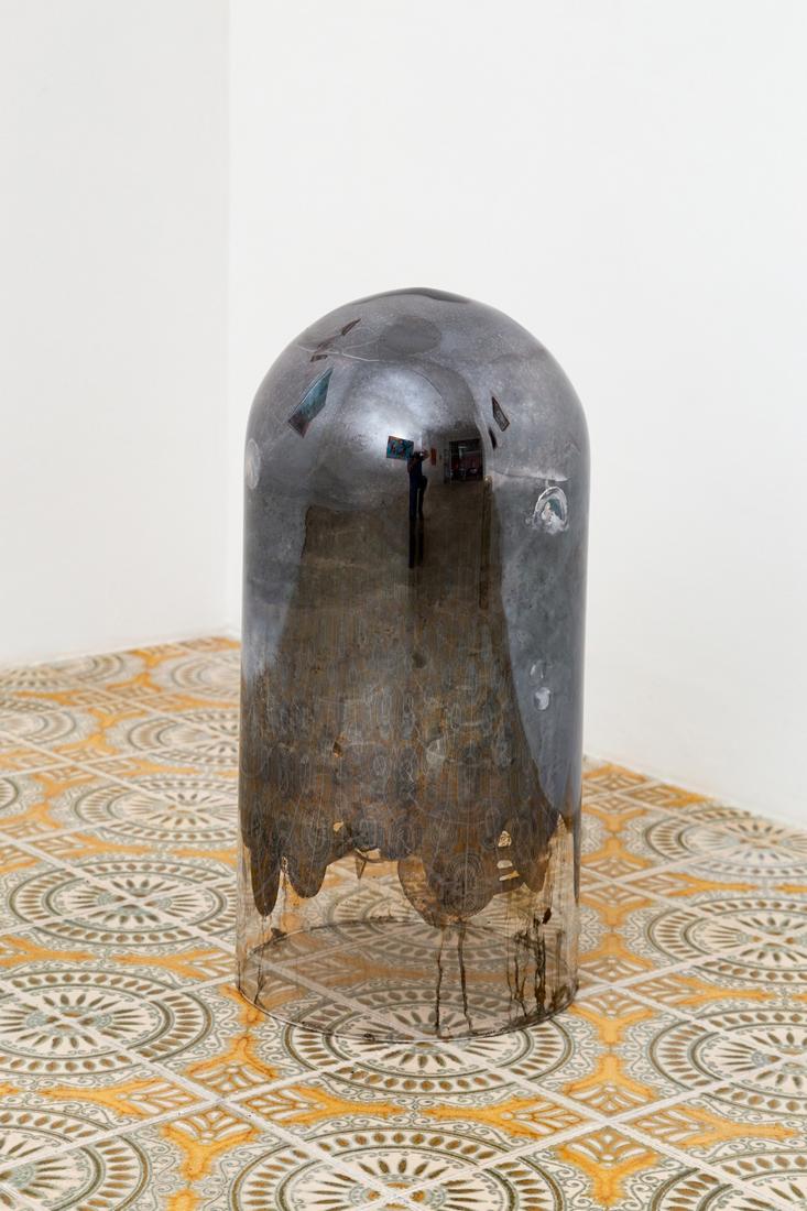 Hélène Fauquet,  Untitled , 2018, glass dome, silver mirror, felt tape,various sizes