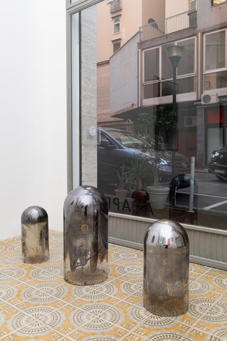 Hélène Fauquet, Untitled, 2018, glass dome, silver mirror, felt tape.jpg