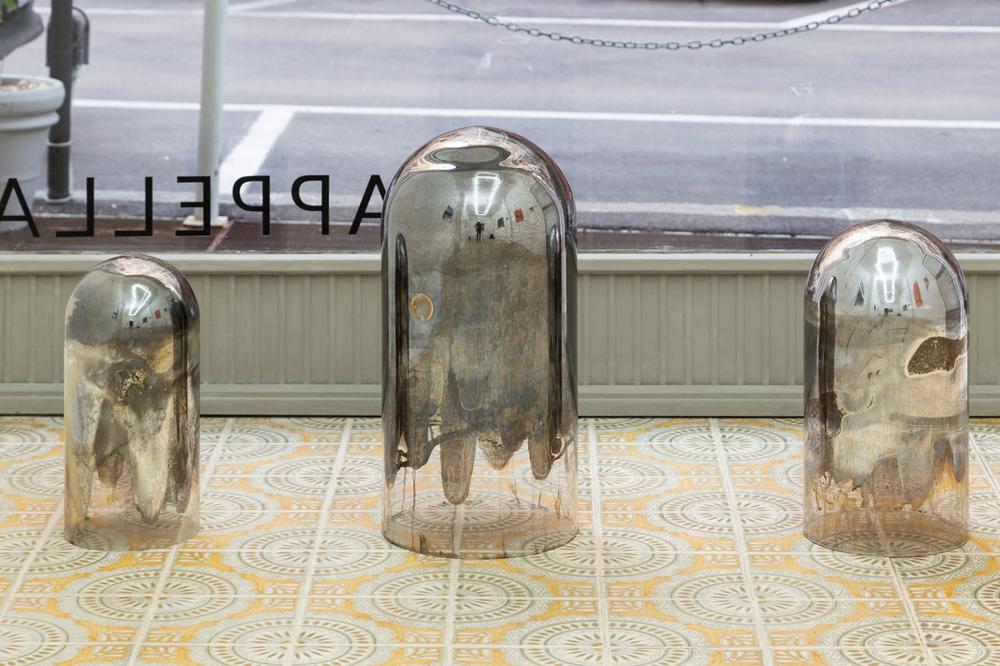Hélène Fauquet, Untitled, glass dome, silver mirror, felt tape, various sizes 2018.png