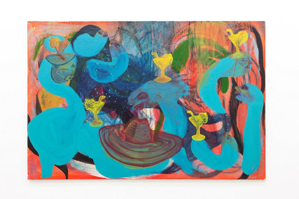 Kamilla Bischof,  Schaumbad , 2017, oil on canvas, 150 x 100 cm