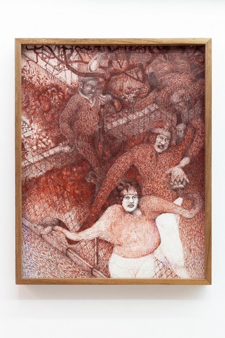 Till Megerle,  Untitled (Im Umgang mit Gleichaltrigen) , 2017, ink, pencil on paper, 31 x 25 cm