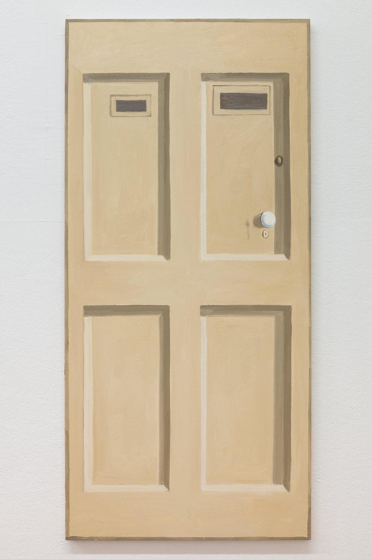 Richard Bosman,  Giorgio Morandi Door , 2016, Oil on canvas, 72 x 34 inches