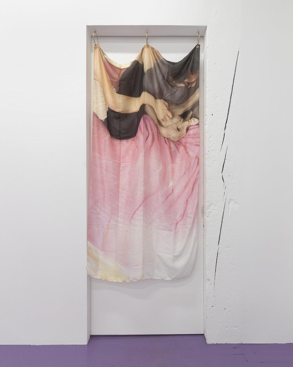 Amina Ross  2:22, Soft Still, Joelle&Zac , 2018 Digital print on silk, grommets, lipstick, and earrings