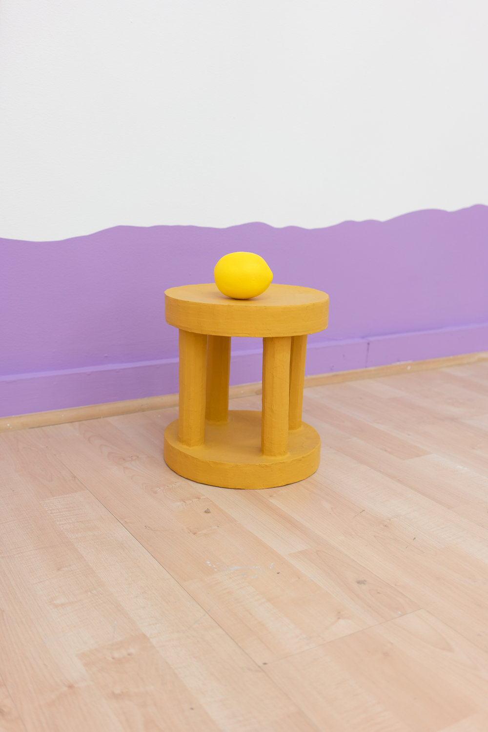 Sarah Hotchkiss,  Lemon Ped , 2018, Cardboard, papier-mâché, gouache, 13 x 9 x 9 in.