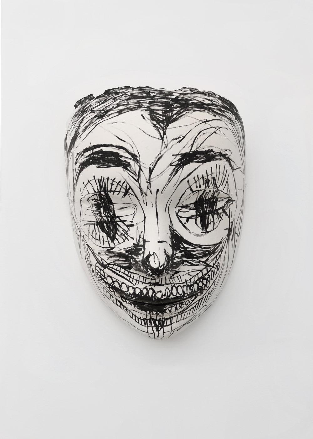 Chloe Siebert,  Mask 2 , 2018, acrylic, fiberglass, latex, and plaster, 42 x 34 x 18 in.