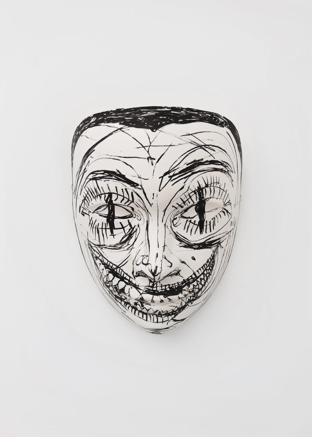 Chloe Siebert,  Mask 1 , 2018, acrylic, fiberglass, latex, and plaster, 42 x 34 x 18 in.