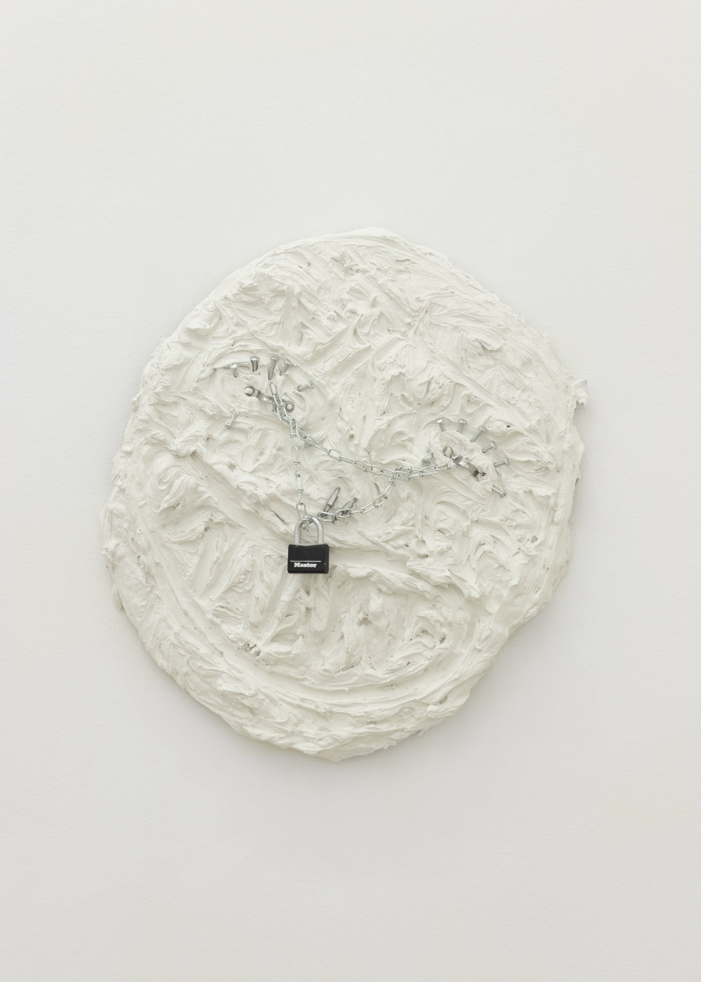 Chloe Siebert,  Hardware Expression , 2018, hardware, plaster, wire, and wood, 22 x 20 in.