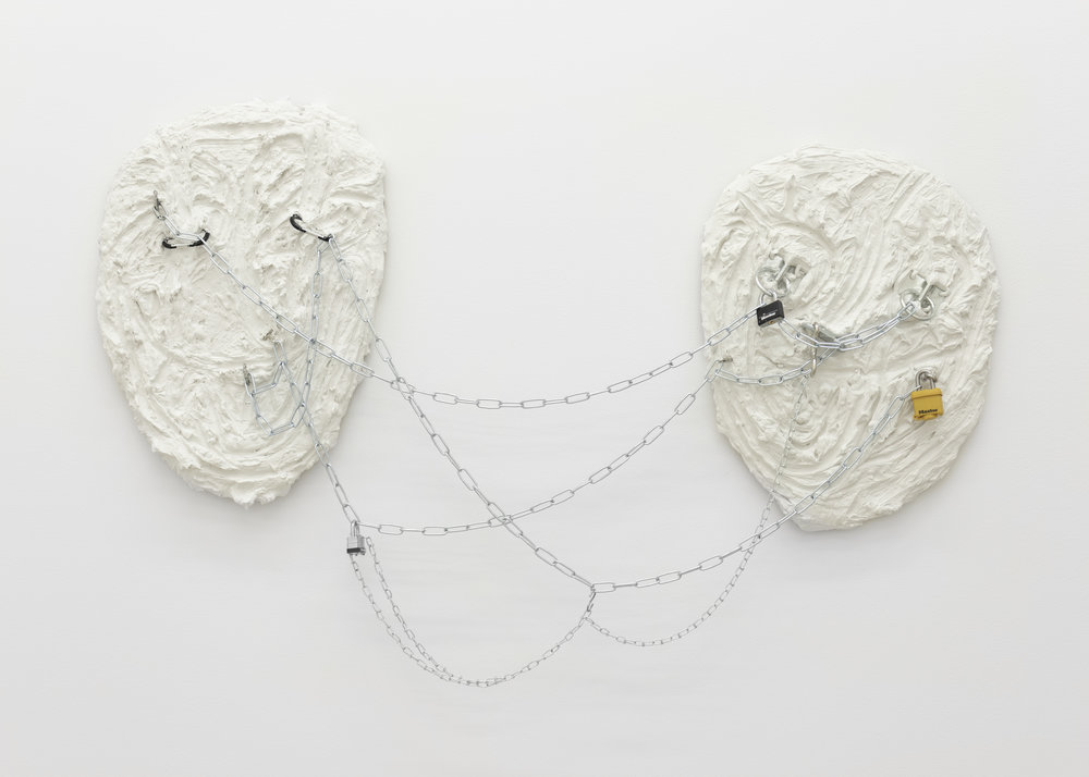 Chloe Siebert,  Double Hardware Expression , 2018, hardware, plaster, wire, and wood, 37 x 58 in.