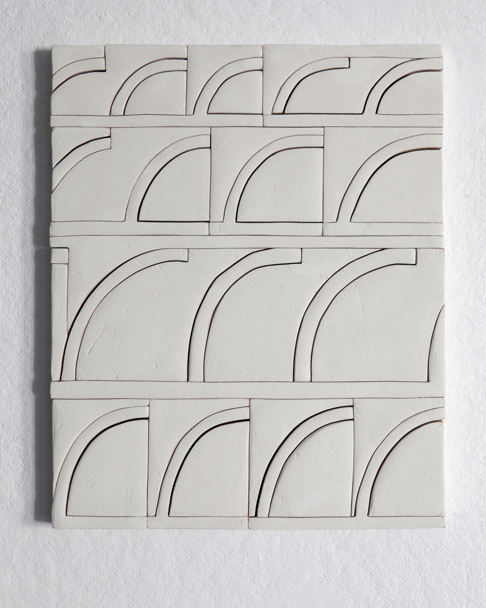 Elizabeth Atterbury,  4 Sets , 2017, Mortar, Plywood and Glue, 15 x 12 x 1 in