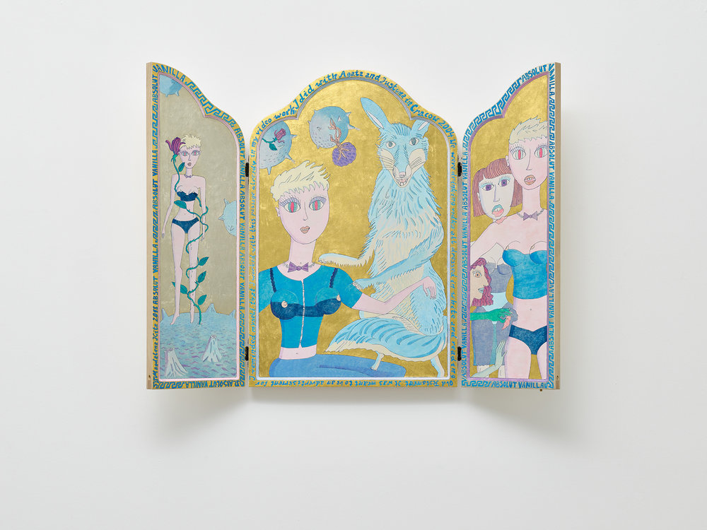 Magdalena Kita,  Absolut Vanilla (Altar) , 2018, Egg tempera and gold leaf on wood, 80 x 105 x 4 cm open, 80 x 52,5 x 8 cm closed