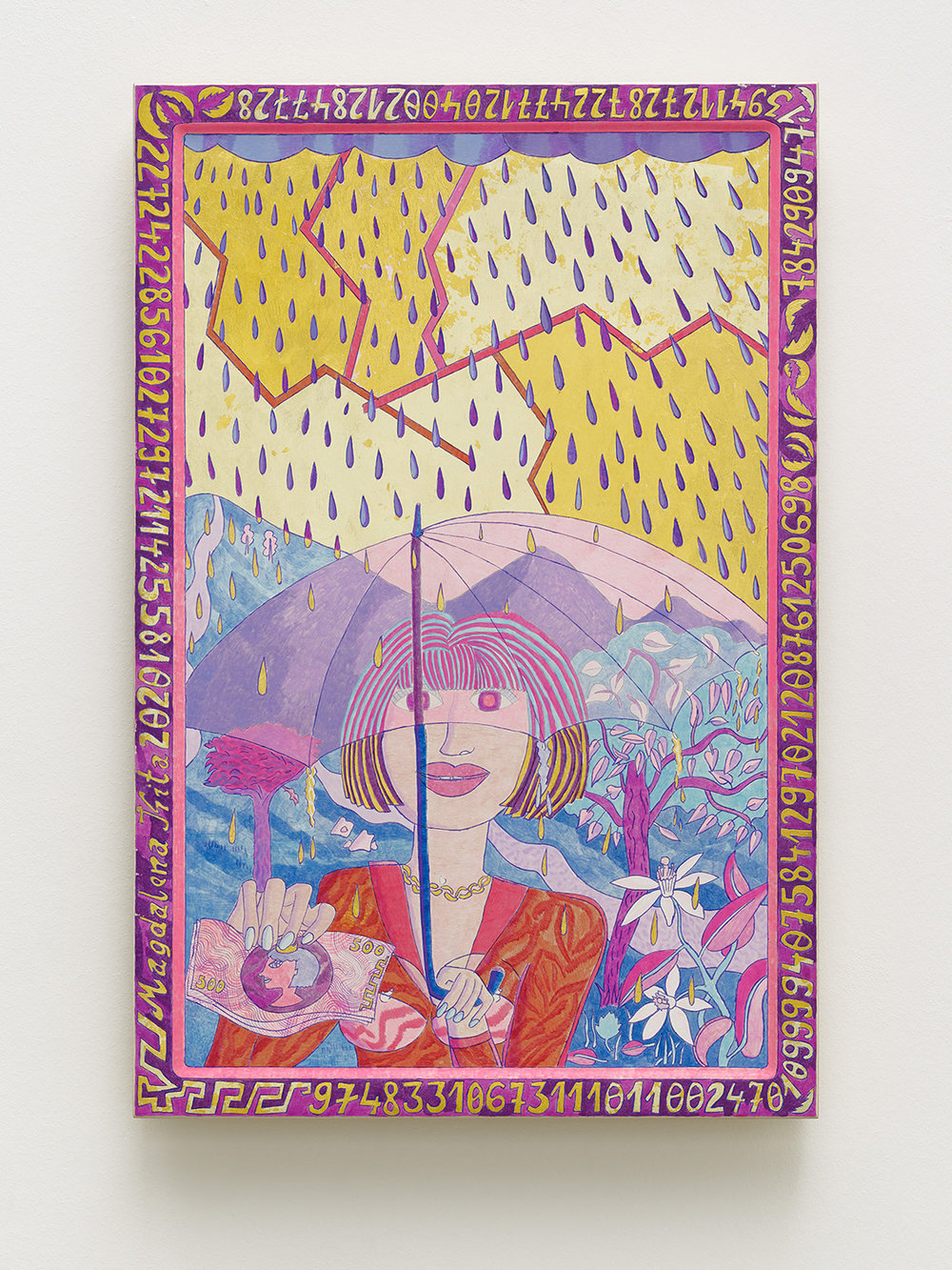 Magdalena Kita,  Purple Rain,   2018, Egg tempera and gold leaf on wood, 60 x 40 cm