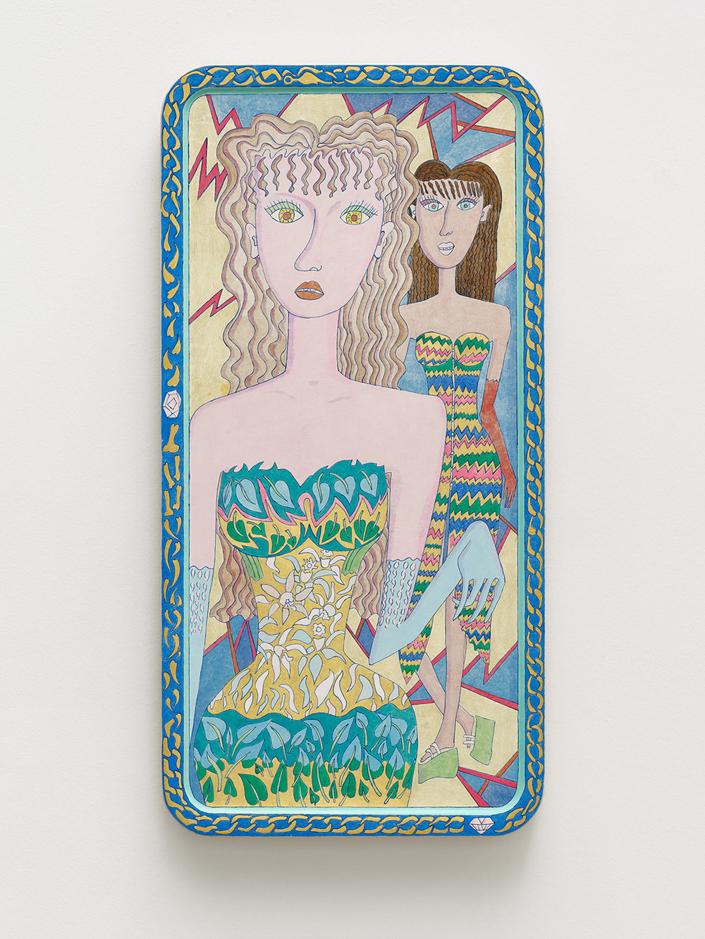 Magdalena Kita,  Chain,  2018, Egg tempera and gold leaf on wood, 70 x 34,5 cm