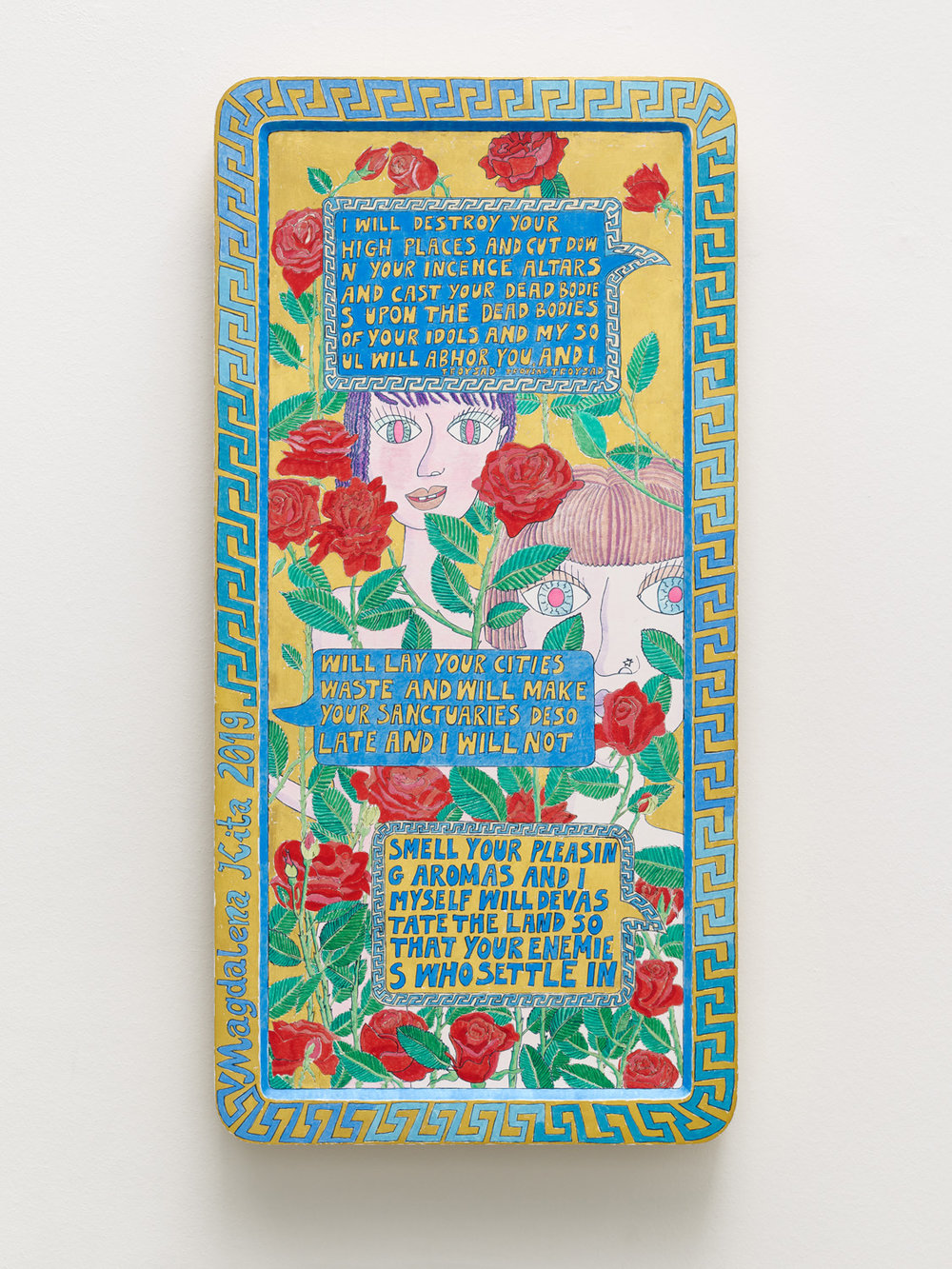 Magdalena Kita, Roses, 2018. Egg tempera and gold leaf on wood, 72 x 35,5 cm