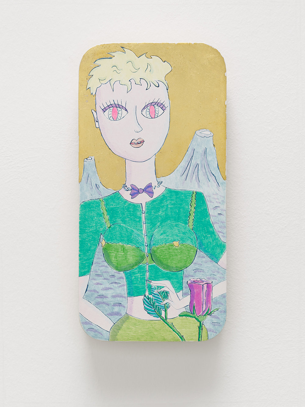 Magdalena Kita,  Little Princess,  2018, Egg tempera and gold leaf on wood, 23 x 11,5 cm