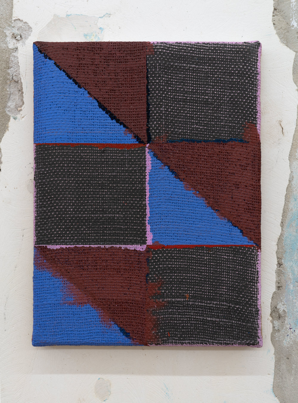 "Joshua Abelow,  Untitled (Abstraction ""FNOO"") , 2015, Oil on burlap, 12 x 9 inches"