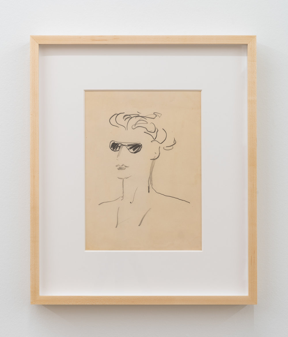 "Paula Brunner Abelow,  Figure wearing Sunglasses,"" circa 1940s, Pencil on paper, 12 x 9 inches"