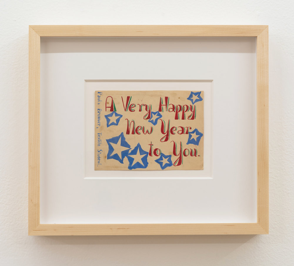 Paula Brunner Abelow,  A Very Happy New Year to You,  circa 1940s, Acrylic on paper, 4 x 6 inches