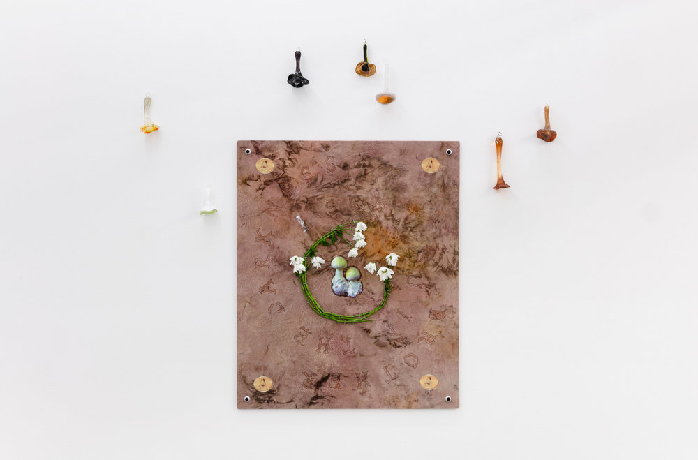 Elif Saydam,  See you in the darkness, brother,  2019 ,  Inkjet transfer, fresh cut flowers, aluminium grommets on dyed canvas, mounted on poplar board