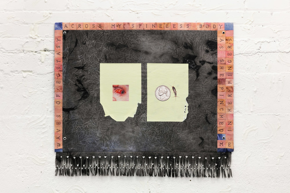 Elif Saydam,  Saccharina (Flesh and Sugar) , 2019, Inkjet transfer, aluminium grommets, plastic beads on hand- stitched dyed canvas, mounted on poplar board; icing sugar