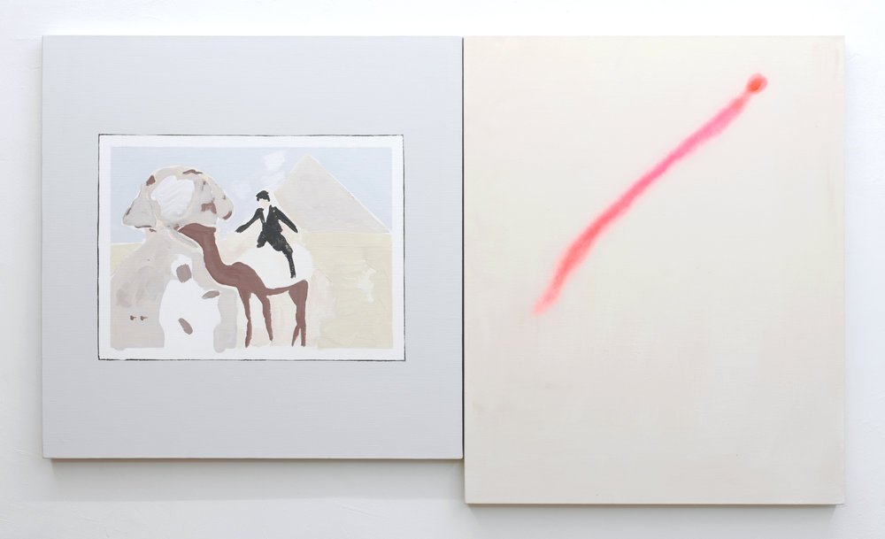 Shimon Minamiakwa,  Memories of Egypt,  2018. Acrylic, spray paint on canvas Left 72.7 x 72.7 cm Right 80.5x65.5 cm Courtesy of MISAKO&ROSEN, Tokyo and Brussels