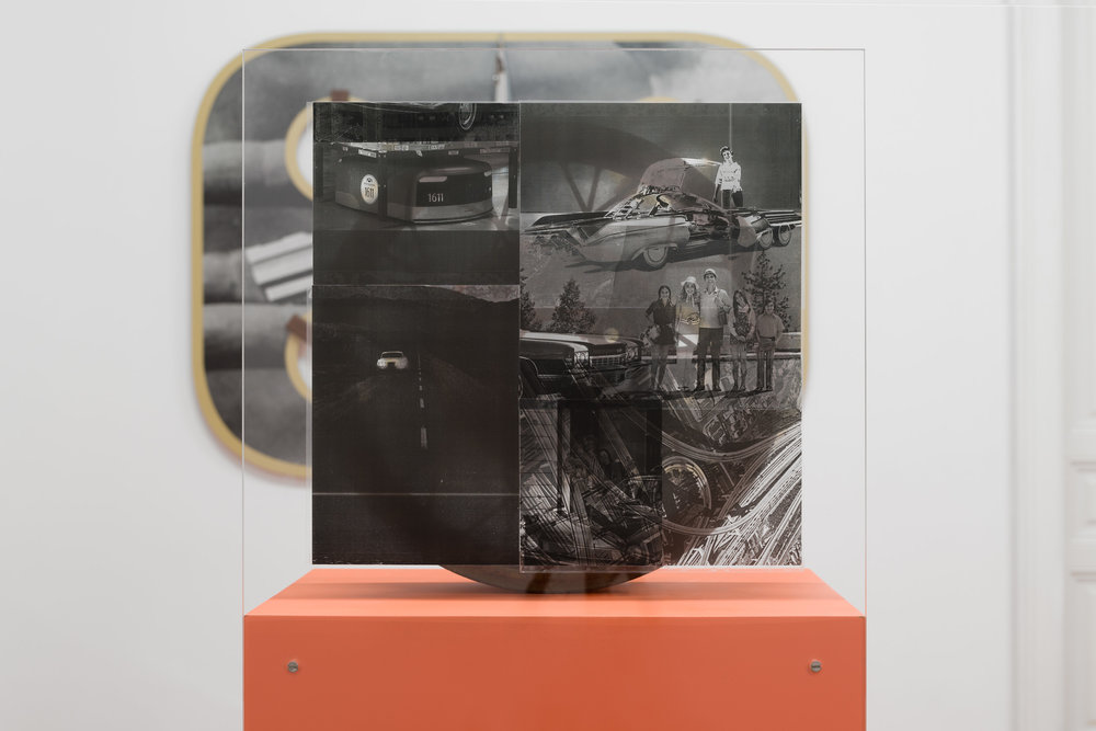 Alex Ito,  You Promised Catastrophe (Open Road),  2018, Ford Model-A wheel, wood, inkjet print on acetate, plexiglass, paint, 147 x 61 x 41 cm