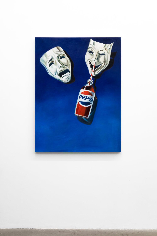 Jesse Harris, Comedy Tragedy Pepsi , 2018 Oil on Canvas, 48 x 36 in (121.9 x 91.4 cm)