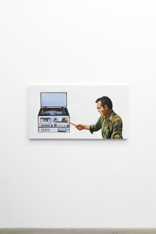 Jesse Harris,  Radio , 2018, Oil on Canvas, 24 x 48 in (61 x 121.9 cm)