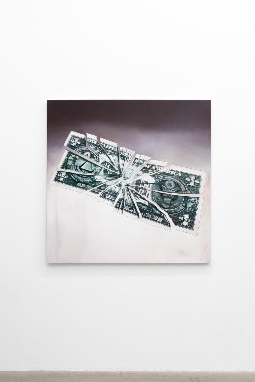 Jesse Harris,  A Dollar , 2018, Oil on canvas, 48 x 48 in (121.9 x 121.9 cm)