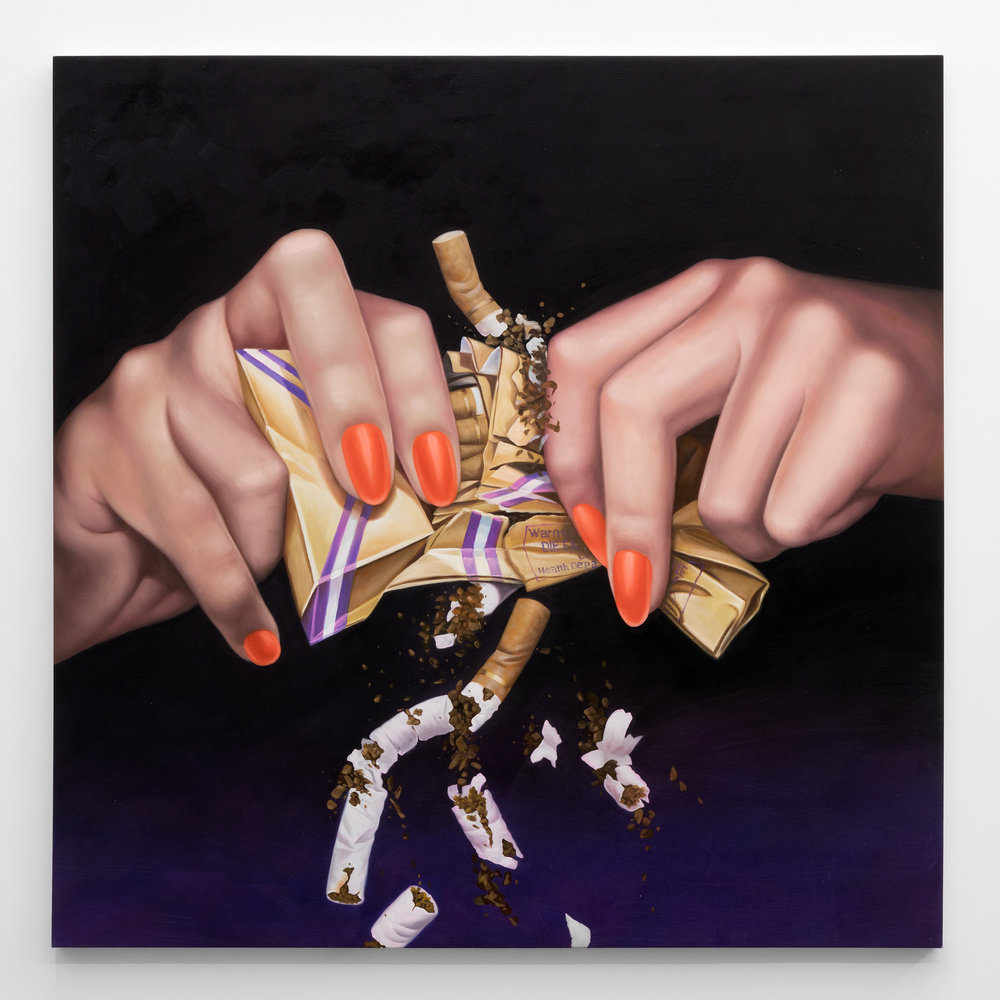 Jesse Harris,  Stop Smoking , 2018, Oil on canvas, 48 x 48 in (121.9 x 121.9 cm)