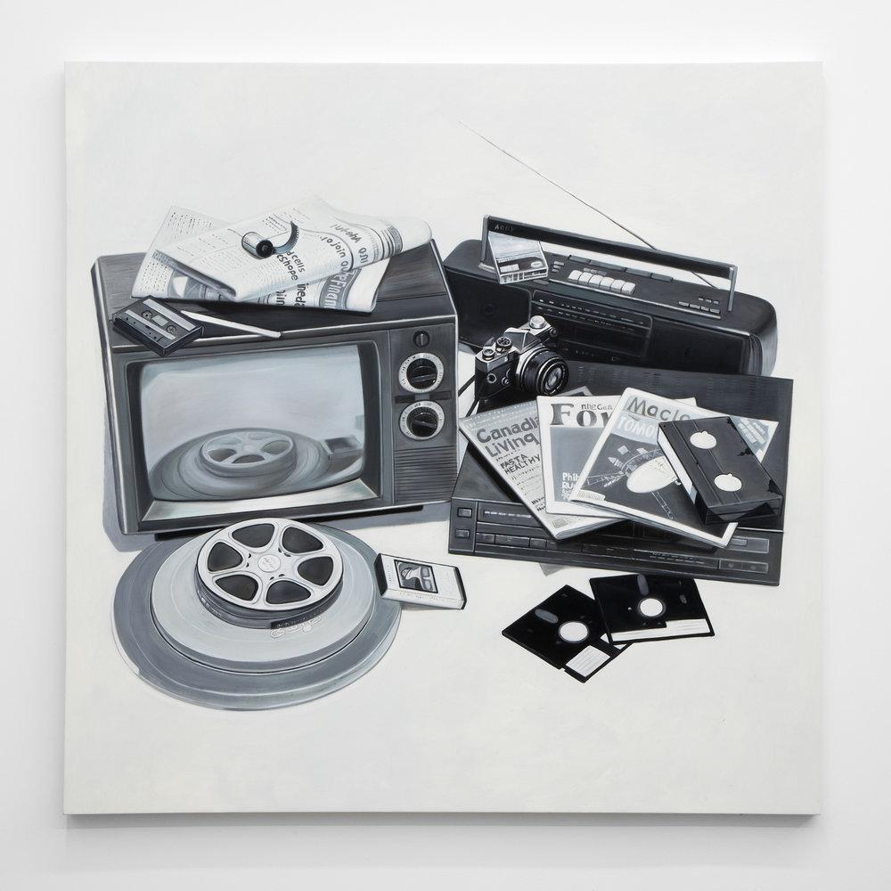 Jesse Harris,   Mass Media , 2018, Oil on Canvas, 48 x 48 in (121.9 x 121.9 cm)