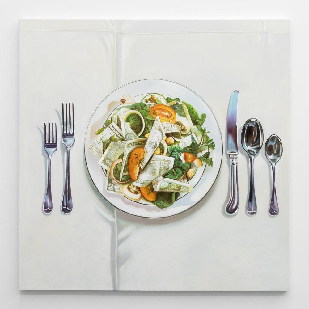 Jesse Harris,  Dollar Meal , 2018, Oil on canvas, 48 x 48 in (121.9 x 121.9 cm)