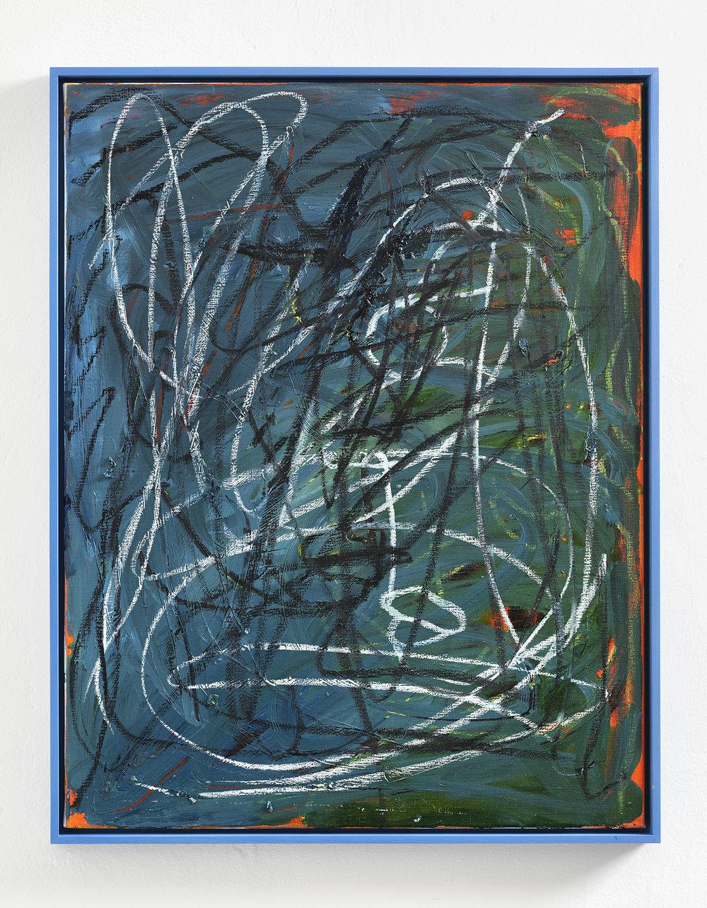 Martin Lukáč  Elaborate Pirate , 2018, Oil and oil-stick on canvas, 90 x 70 cm