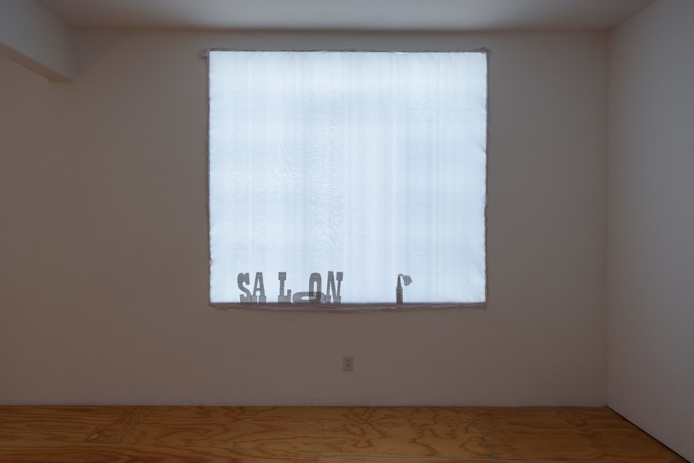 Noah Barker,  Screen Adaptation (of a Western),  2019, Spandex, old press releases, Dimensions variable
