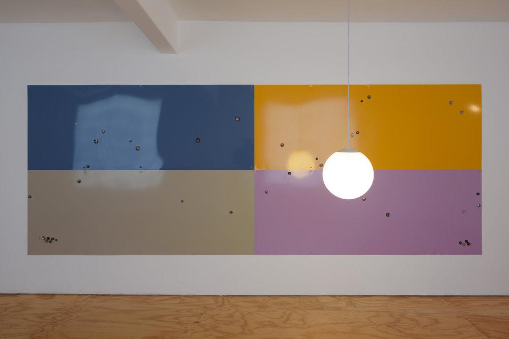 Noah Barker,  Franco Solinas Constellator , 2019, Powder-coated steel, lamp, acrylic, C-print, magnets, 182 x 488 cm