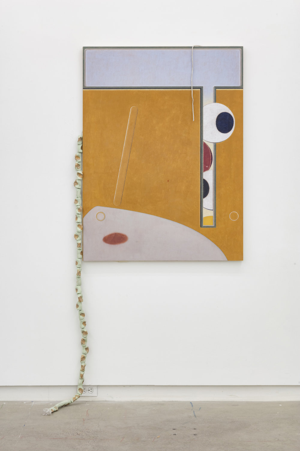 Marlon Kroll,  A Room Is A Thing,  2019, coloured pencil on gessoed muslin mounted on panel, glazed ceramic and rope, 48 x 36 inches