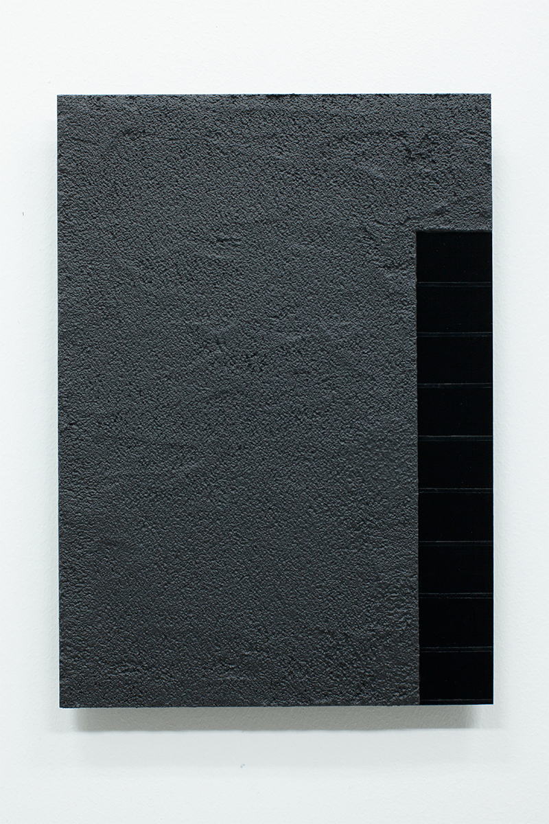 Anders Sletvold Moe. Black Letter # 27 (Granular Surface), 2014. Oil and acrylic on plexi glass. 8.27 x 11.69 inches.