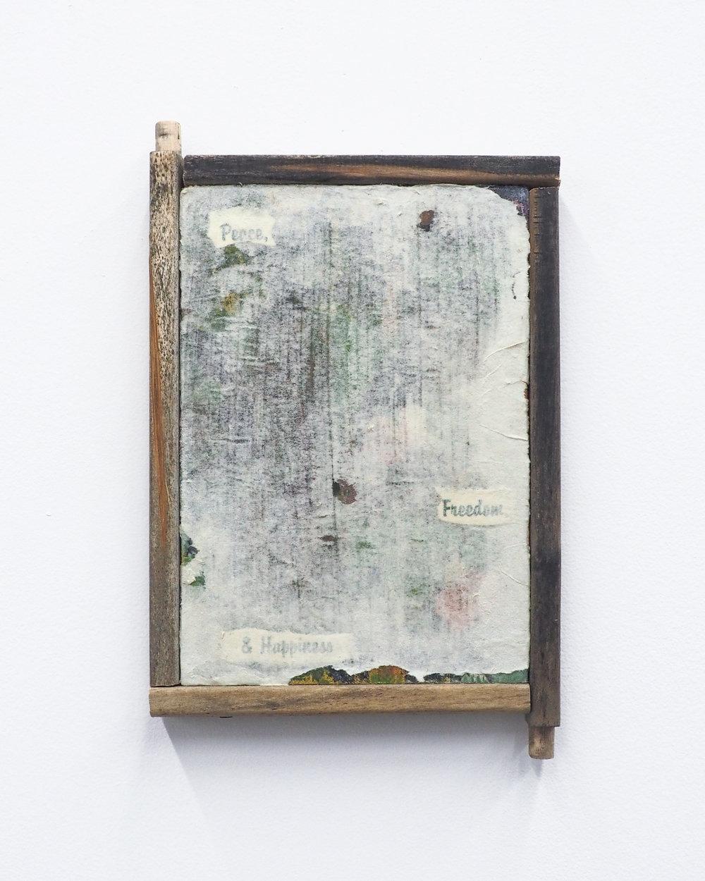 "Garrett Lockhart,  Peace, Freedom, Happiness , 2018, laserprint on tie-dyed cotton, evangelist pamphlet, recycled newsprint, salvaged wood 6"" x 8"""