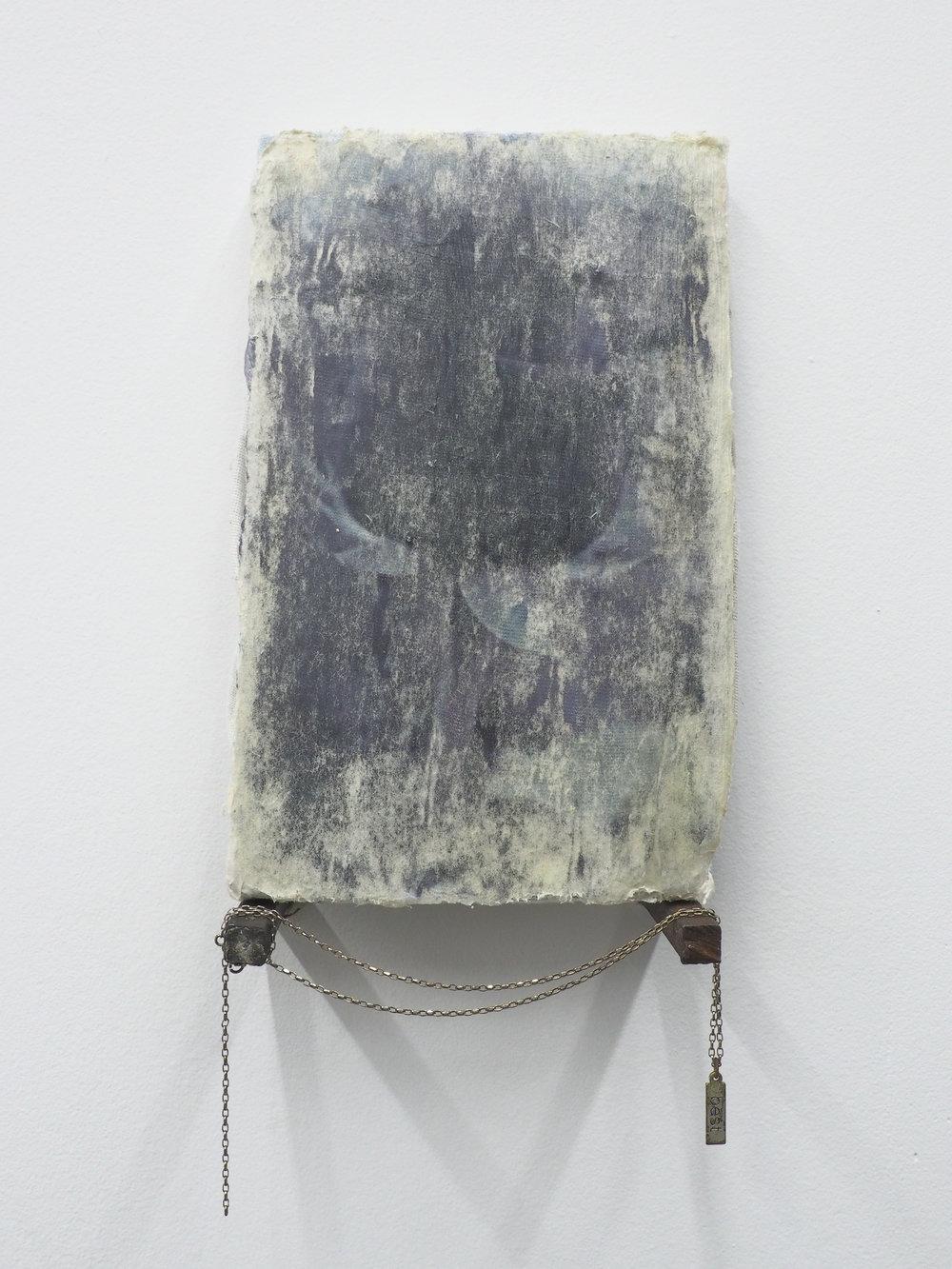 """Garrett Lockhart,  Misty rose , 2019, laser print on cotton, found plank, found chain and charm, salvaged metal 5.25"""" x 8.5"""""""