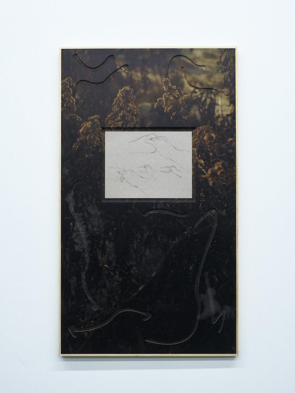 "Parker Kay,  Second Lake Island Struck by Lightning , 2019, UV Print on custom MDF panel, pencil on paper 38.5""x22"""