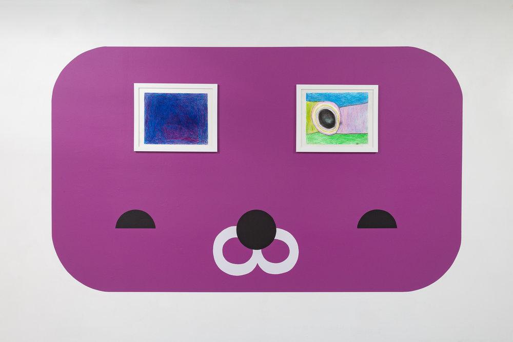 Ad Minoliti,  puppy , 2019, Acrylic on wall, Dimensions variable