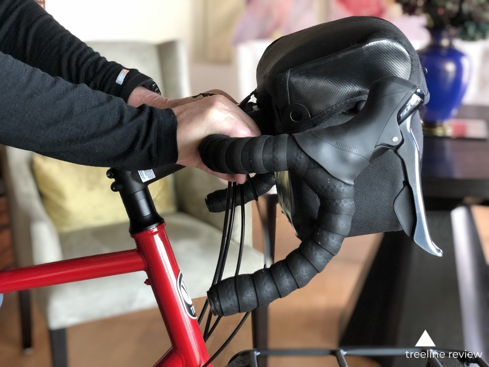 An Ortleib handlebar bag shown on a Trek 520 touring bike.