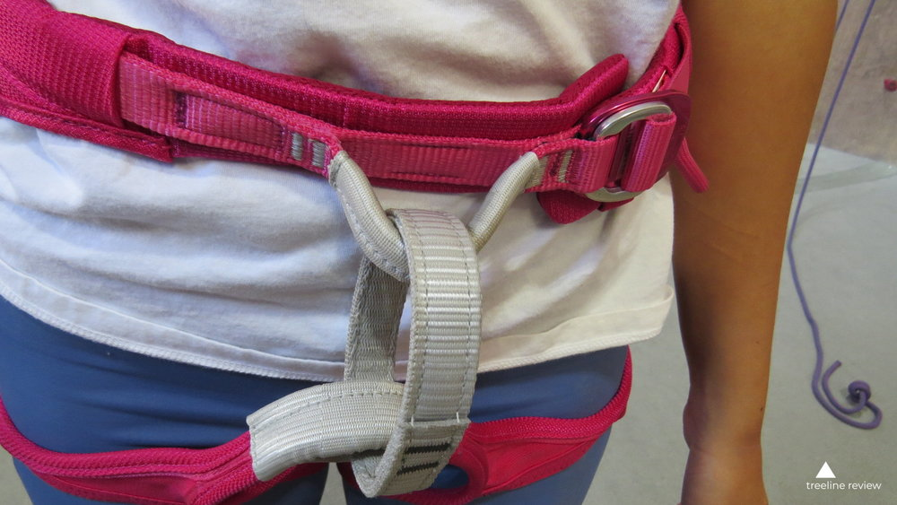 The Petzl Selena waistbelt is more curved.   Photo by Liz Thomas.