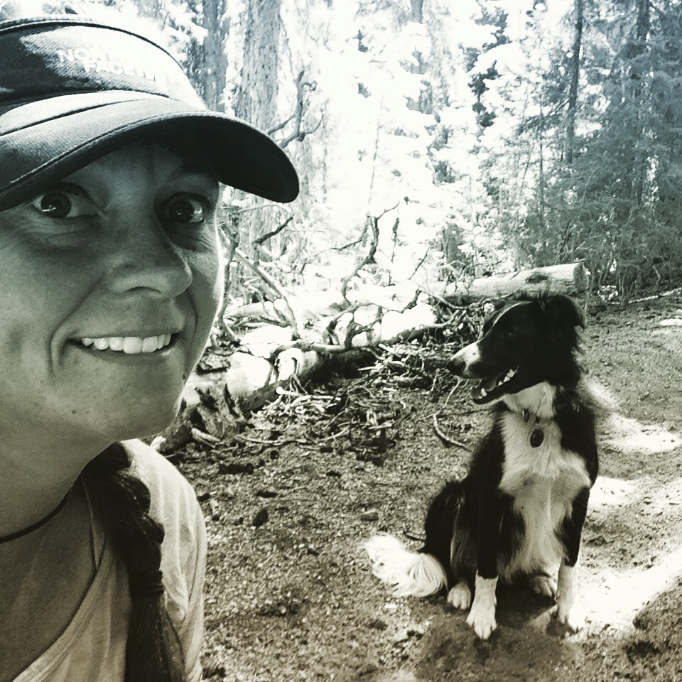 "Author Melissa ""Treehugger"" Spencer and her hiking dog, Sage.   Photo courtesy Melissa Spencer."