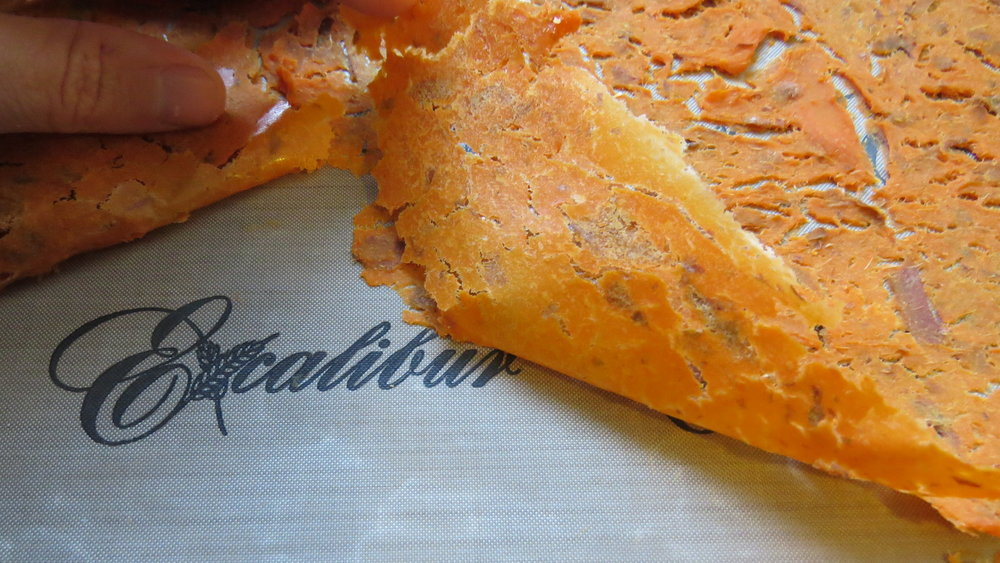 During testing, we found it very easy to peel dehydrated mashed sweet potatoes off the Excalibur silicone sheet.   Photo by Liz Thomas.