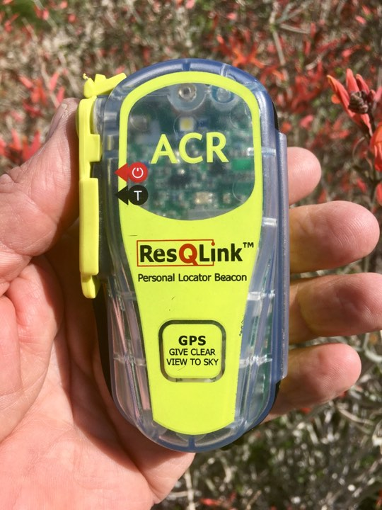 "The ACR ResQLink PLB in non-emergency mode.   Photo by Randy ""Arrow"" Godfrey."