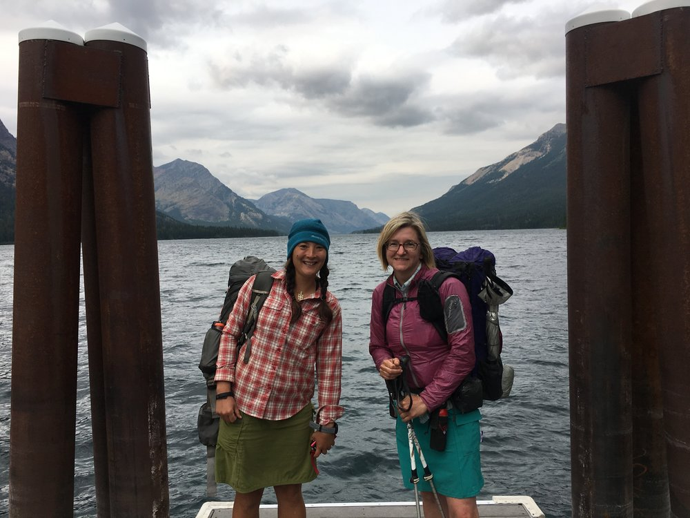 Treeline Review co-founders Liz Thomas (left) and Naomi Hudetz (right) at Waterton Lakes in Glacier National Park on Day 1 of the Pacific Northwest Trail.   Photo courtesy Naomi Hudetz.