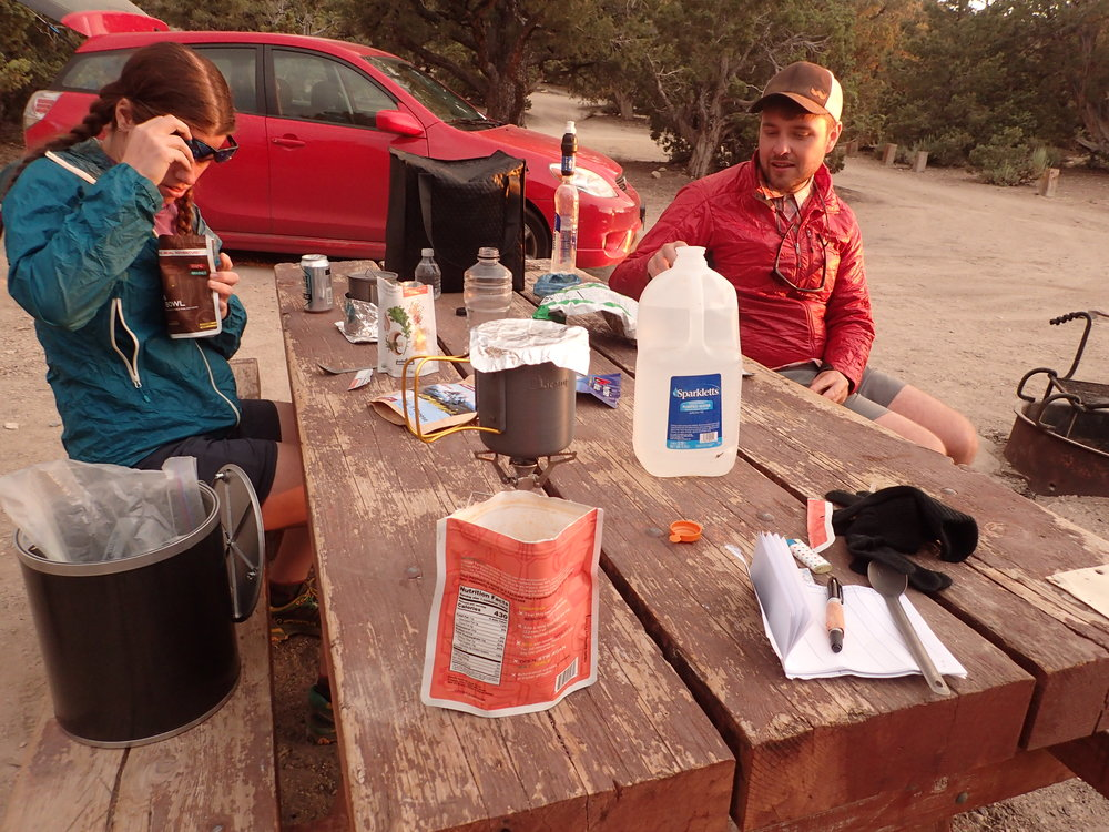 The canister crushing tool can be brought directly to campgrounds or backpacked in.   Photo courtesy Liz Thomas.