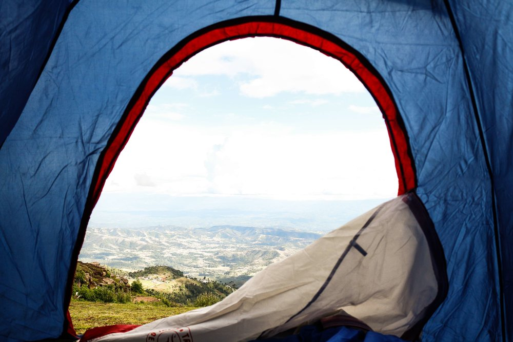 When it's time to break down camp and put your tent away, how you stuff it or fold it will leave lines in the fabric, as visible in this photo.   Photo by    Mel Elías    on    Unsplash